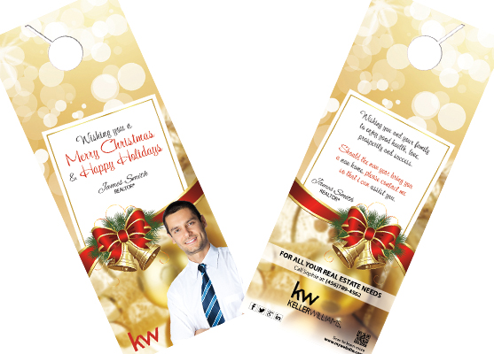Keller Williams Holiday Door Hangers, Keller Williams Christmas Door Hangers, Keller Williams Holiday Hanger Designs, Keller Williams Holiday Hanger Printing and Keller Williams Holiday Hanger Ideas